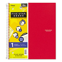 Five star - wirebound notebook, college rule, 3-hole punch, poly cover, 5 subject 100 sheets, sold as 1 ea