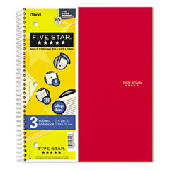Five star - wirebound notebook, college rule, 3 subject 150 sheets, sold as 1 ea