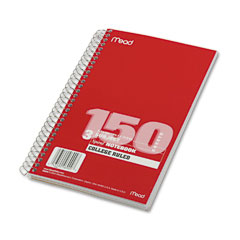 Mead - spiral bound notebook, college rule, 6 x 9-1/2, white, 3 subject 150 sheets/pad, sold as 1 ea