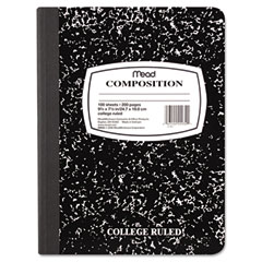 Mead - wireless composition book, college rule, 9-3/4 x 7-1/2, white, 100 sheets, sold as 1 ea