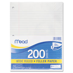 Mead 15200 Filler Paper, 16-Lbs., Wide Ruled, 3-Hole Punched, 10-1/2 X 8, 200 Sheets/Pack