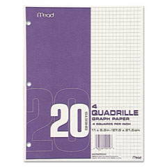 Mead - quadrille graph paper, quadrille (4 sq/in), 8 1/2 x 11, white, 12 pads/pack, sold as 1 pk
