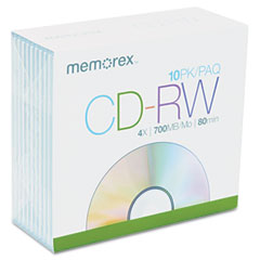 Memorex 03408 Cd-Rw Discs, 700Mb/80Min, 4X, W/Slim Jewel Cases, Silver, 10/Pack