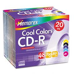 Memorex 04620 Cd-R Discs, 700Mb/80Min, 48X, Slim Jewel Cases, Assorted Colors, 20/Pack