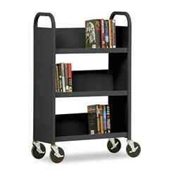 Metal BT3L27144309 Single-Sided Book Cart, 3-Shelf, 27W X 14D X 44-1/2H, Black