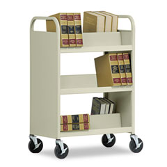 Metal BT3S37184207 Double-Sided Book Cart, 3-Shelf, 37W X 18D X 42H, Putty
