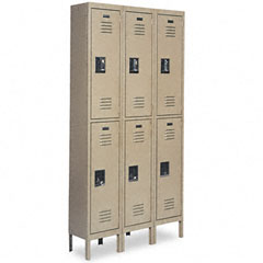 Metal METCQA5093TN Double-Tier Locker, 36w x 18d x 78h, Tan