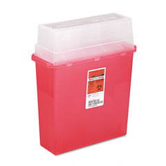 Medline MDS705152H Sharps Container For Patient Room, Plastic, 5 Quart, Rectangular, Red