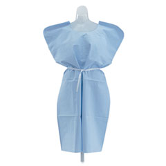 Medline - disposable patient gowns, 3-ply t/p/t, blue, 50/carton, sold as 1 ct