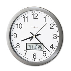 Howard Miller Clock MIL625195 Chronicle Wall Clock with LCD Inset, 14in, Gray