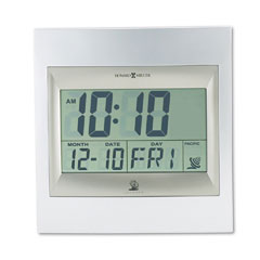 Howard Miller Clock 625-236 Radio Control Techtime Ii Lcd Wall/Table Alarm Clock, Silver