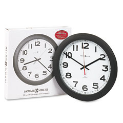 Howard Miller Clock 625-320 Norcross Auto Daylight-Savings Wall Clock, 12-1/4In, Black, 1 Aa