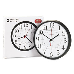 Howard Miller Clock 625-323 Alton Auto Daylight Savings Wall Clock, 14In, Black