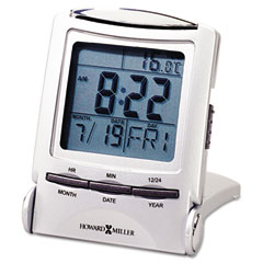 Howard miller - distant time traveler alarm clock, 2-1/4in, silver, 1 aaa (incl), sold as 1 ea
