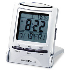 Howard Miller Clock 645-358 Distant Time Traveler Alarm Clock, 2-1/4In, Silver, 1 Aaa (Incl)