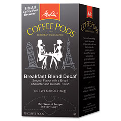 Melitta - coffee pods, breakfast blend decaf, 18 pods/box, sold as 1 bx