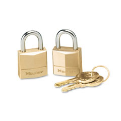 Master lock - three-pin brass tumbler locks, 3/4-inch wide, 2 locks & 2 keys/pack, sold as 1 pk