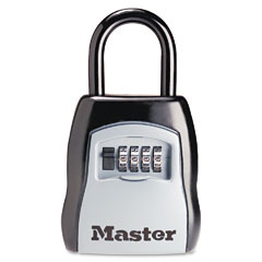 Master lock - locking combination 5-key steel box, 3 1/2w x 1 5/8d x 4h, black/silver, sold as 1 ea