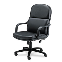 Mayline 1801AGBLT Big & Tall Executive Chair With Loop Arms, Black Leather