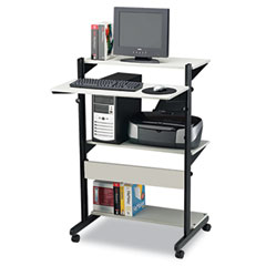 Mayline 8432SOGRYBLK Soho Fully Adjustable Mobile Computer Table, 32W X 31D X 50H, Gray/Black