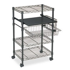 Mayline 955BLK Multipurpose Wire Cart, 5-Shelf, 1-Basket, 23.5W X 15D X 37.5H, Black