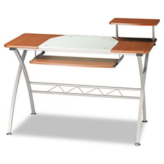 Mayline 972MEC Eastwinds Vision Computer Desk, 47.25W X 27D X 34H, Med Cherry With White Glass