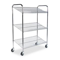 Mayline CTT2 Kwik-File 3-Shelf Wire Mail Tote Cart, 43.5W X 18D X 55H, Chrome