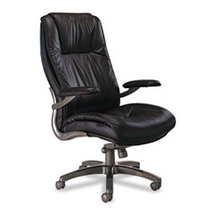 Mayline ULEXBLK Ultimo 100 Series High-Back Swivel/Tilt Chair, Black Leather