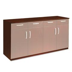 Mayline VBCZBCRY Wood Veneer Buffet Credenza Cabinet, 72W X 22D X 36H, Sierra Cherry
