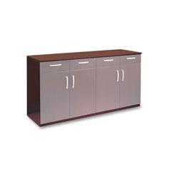 Mayline VBCZBMAH Wood Veneer Buffet Credenza Cabinet, 72W X 22D X 36H, Mahogany