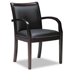 Mayline VSC7ABMAH Mercado Series Ladder-Back Wood Guest Chair, Mahogany/Black Leather
