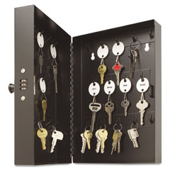 "MMF 201202804 Hook-Style Key Cabinet, 28-Key, Steel, Black, 11 1/2"" X 3 1/4"" X 7 3/4"""