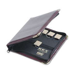 "MMF 201502417 Portable Zippered Key Case, 24-Key, Leather-Like Vinyl, Burgundy, 8 3/8"" X 7"""