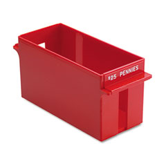 Mmf industries - porta-count system extra-capacity rolled coin plastic storage tray, red, sold as 1 ea