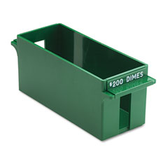 MMF 212071002 Porta-Count System Extra-Capacity Rolled Coin Plastic Storage Tray, Green