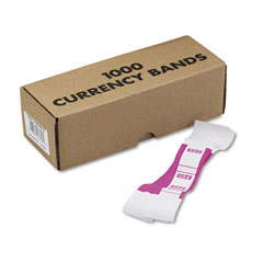 MMF 216070E13 Self-Adhesive Currency Straps, Pink, $250 In Dollar Bills, 1000 Bands/Box
