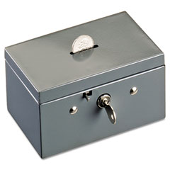Steelmaster by mmf industries - small cash box with coin slot, disc lock, gray, sold as 1 ea