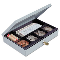 Steelmaster by mmf industries - heavy-duty steel low-profile cash box w/6 compartments, key lock, gray, sold as 1 ea