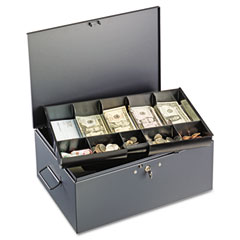 Steelmaster by mmf industries - extra large cash box with handles, disc tumbler lock, gray, sold as 1 ea
