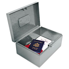 Steelmaster by mmf industries - locking heavy-duty security box, tumbler lock, gray, sold as 1 ea
