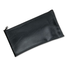 Mmf industries - leatherette zippered wallet, leather-like vinyl, 11w x 6h, black, sold as 1 ea