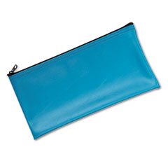 Mmf industries - leatherette zippered wallet, leather-like vinyl, 11w x 6h, marine blue, sold as 1 ea