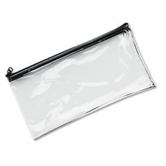 Mmf industries - leatherette zippered wallet, leather-like vinyl, 11w x 6h, clear, sold as 1 ea
