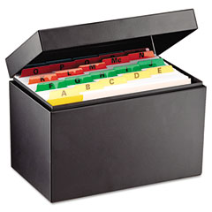 Index Card File, Holds 625 5 x 8 Cards, Black | by Plexsupply