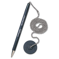 MMF 28904 Secure-A-Pen Ballpoint Counter Pen With Base, Black Ink, Medium