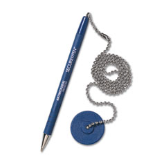 MMF 28908 Secure-A-Pen Ballpoint Counter Pen With Base, Blue Ink, Medium