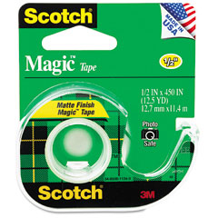 Scotch - magic office tape w/refillable dispenser, 1/2-inch x 450-inch, clear, sold as 1 rl