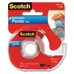 Scotch - wallsaver removable poster tape, double-sided, 3/4-inch x 150-inch, w/disp., 1 roll, sold as 1 rl