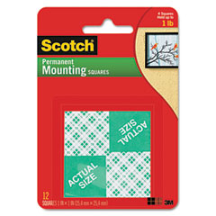 Scotch - precut foam mounting 1 squares, double-sided, permanent 16 squares/pack, sold as 1 pk