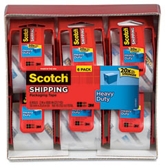 Scotch - sure start packaging tape, 2-inch x 22.2 yards, 2-inch core, clear, 6/pack, sold as 1 pk